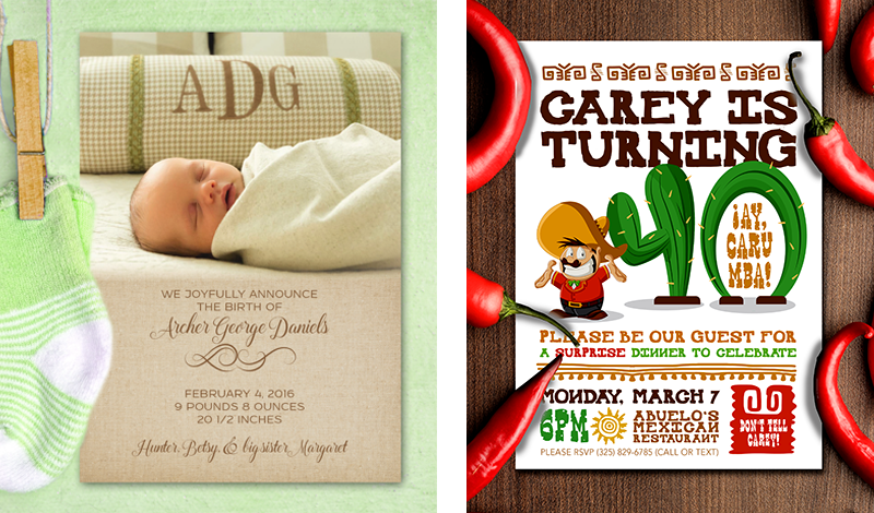 Birthday Invitations and Birth Announcements // Design and Printing // Abilene, Texas